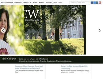 Main page screenshot of drew.edu