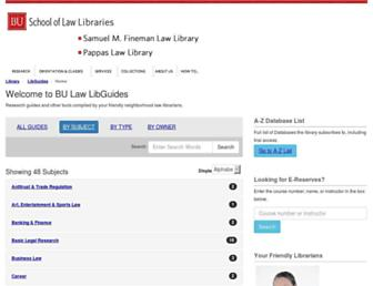 Main page screenshot of lawlibraryguides.bu.edu