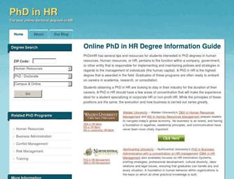 Main page screenshot of phdinhr.org