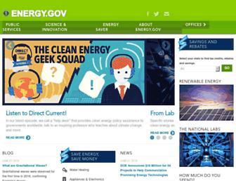 Main page screenshot of energy.gov