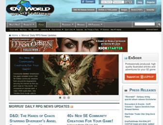 Main page screenshot of enworld.org