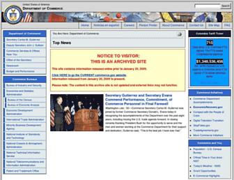 Main page screenshot of 2001-2009.commerce.gov