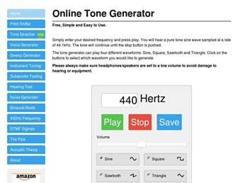 onlinetonegenerator.com screenshot