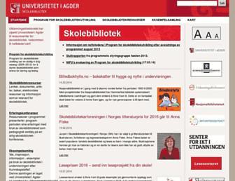 Main page screenshot of skolebibliotek.uia.no