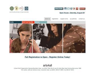Main page screenshot of arts4all.org