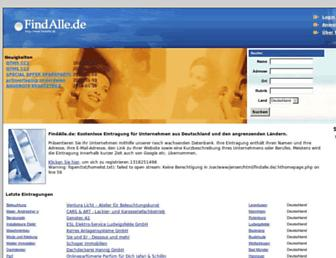 Main page screenshot of findalle.de
