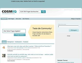 Main page screenshot of cosmiq.de