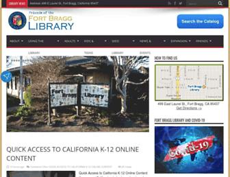 Main page screenshot of fortbragglibrary.org