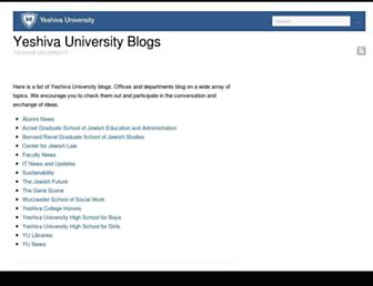 Main page screenshot of blogs.yu.edu