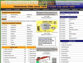 Main page screenshot of voetbalstats.nl