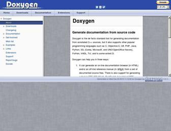 Main page screenshot of doxygen.org
