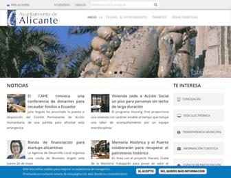 Main page screenshot of alicante.es