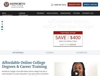 Main page screenshot of ashworthcollege.edu