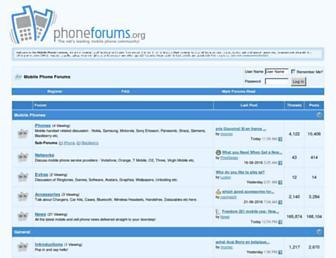 Main page screenshot of phoneforums.org