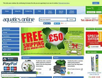 Main page screenshot of aquatics-online.co.uk