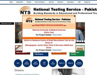 Main page screenshot of nts.org.pk