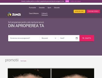Main page screenshot of zumzi.ro