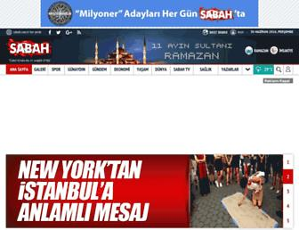 Main page screenshot of sabah.com.tr