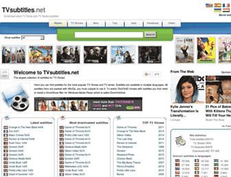 Main page screenshot of tvsubtitles.net