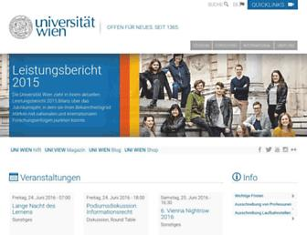 Main page screenshot of univie.ac.at