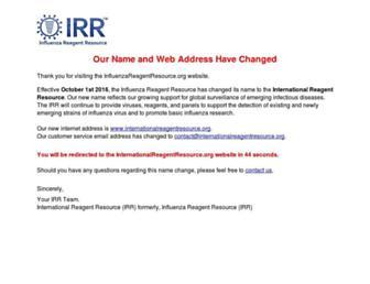Main page screenshot of influenzareagentresource.org