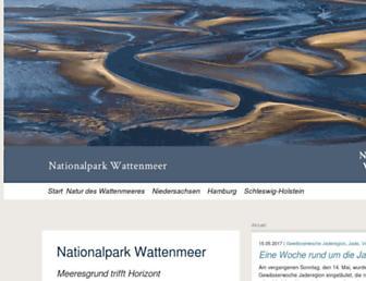 Main page screenshot of nationalpark-wattenmeer.de