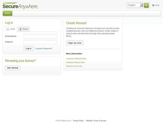 my.webrootanywhere.com screenshot