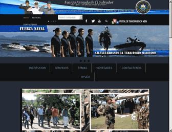 Main page screenshot of fuerzaarmada.gob.sv