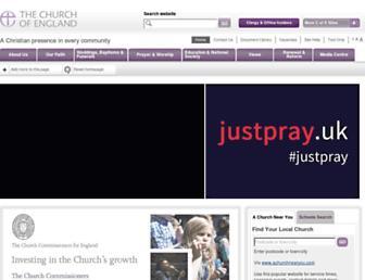 Main page screenshot of churchofengland.org