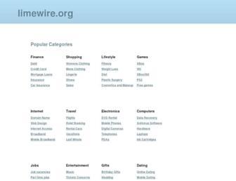 Main page screenshot of limewire.org