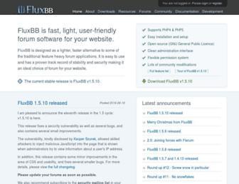 Main page screenshot of fluxbb.org