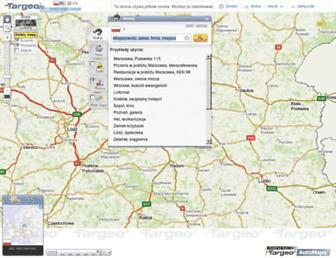 Main page screenshot of mapa.targeo.pl