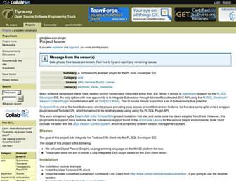 Main page screenshot of plsqldev-svn-plugin.tigris.org
