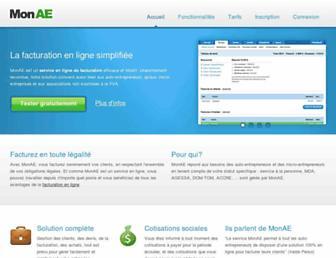 Main page screenshot of monae.fr