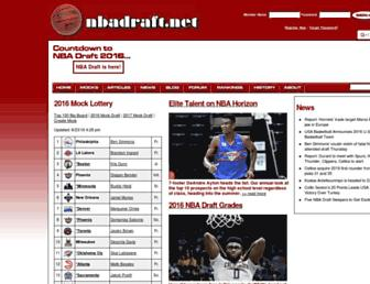 Main page screenshot of nbadraft.net