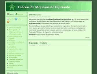 Main page screenshot of esperanto-mexico.org