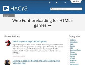 Main page screenshot of hacks.mozilla.org