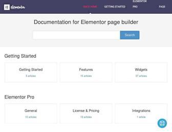 docs.elementor.com screenshot