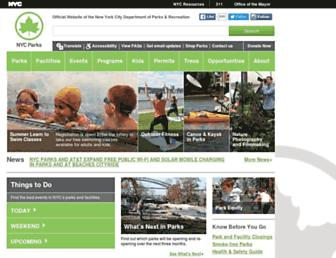 Main page screenshot of nycgovparks.org
