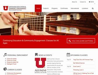 Main page screenshot of continue.utah.edu