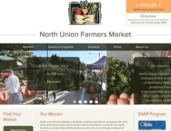 Main page screenshot of northunionfarmersmarket.org