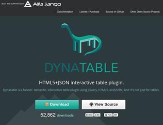 dynatable.com screenshot