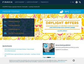 Main page screenshot of helsinki-vantaa.fi