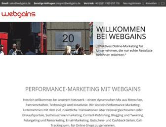 Main page screenshot of webgains.de