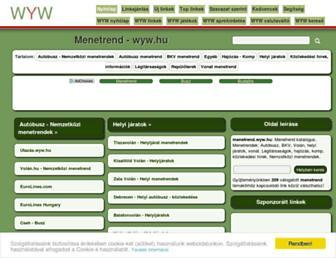 Main page screenshot of menetrend.wyw.hu