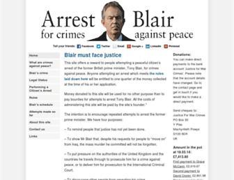 Main page screenshot of arrestblair.org