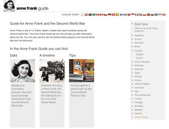 Main page screenshot of annefrankguide.net