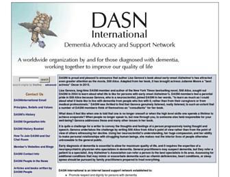 Main page screenshot of dasninternational.org