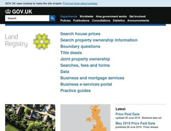 Main page screenshot of landregistry.gov.uk