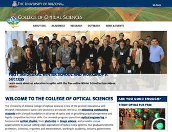 Main page screenshot of optics.arizona.edu